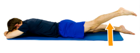 Prone leg lift for reducing hip pain