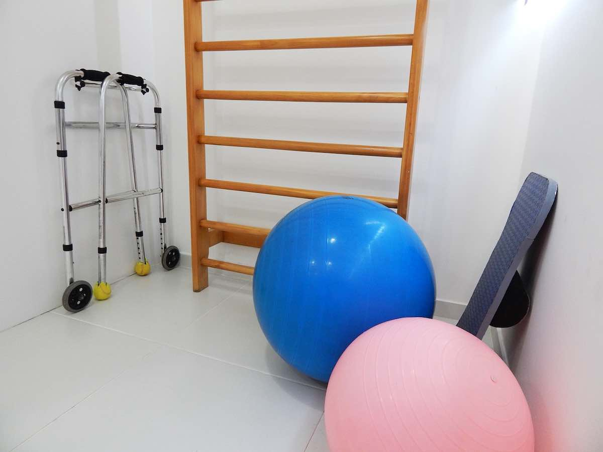 Physical therapy studio room for exercise and rehabilitation